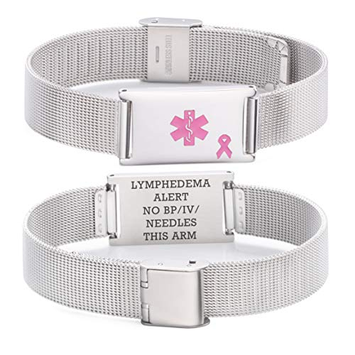 linnalove Lymphedema Alert No bp/iv/Needles This arm Stainless Steel Milanese Medical ID Alert Bracelet for Breast Cancer Adjustable by linnalove (Image #2)