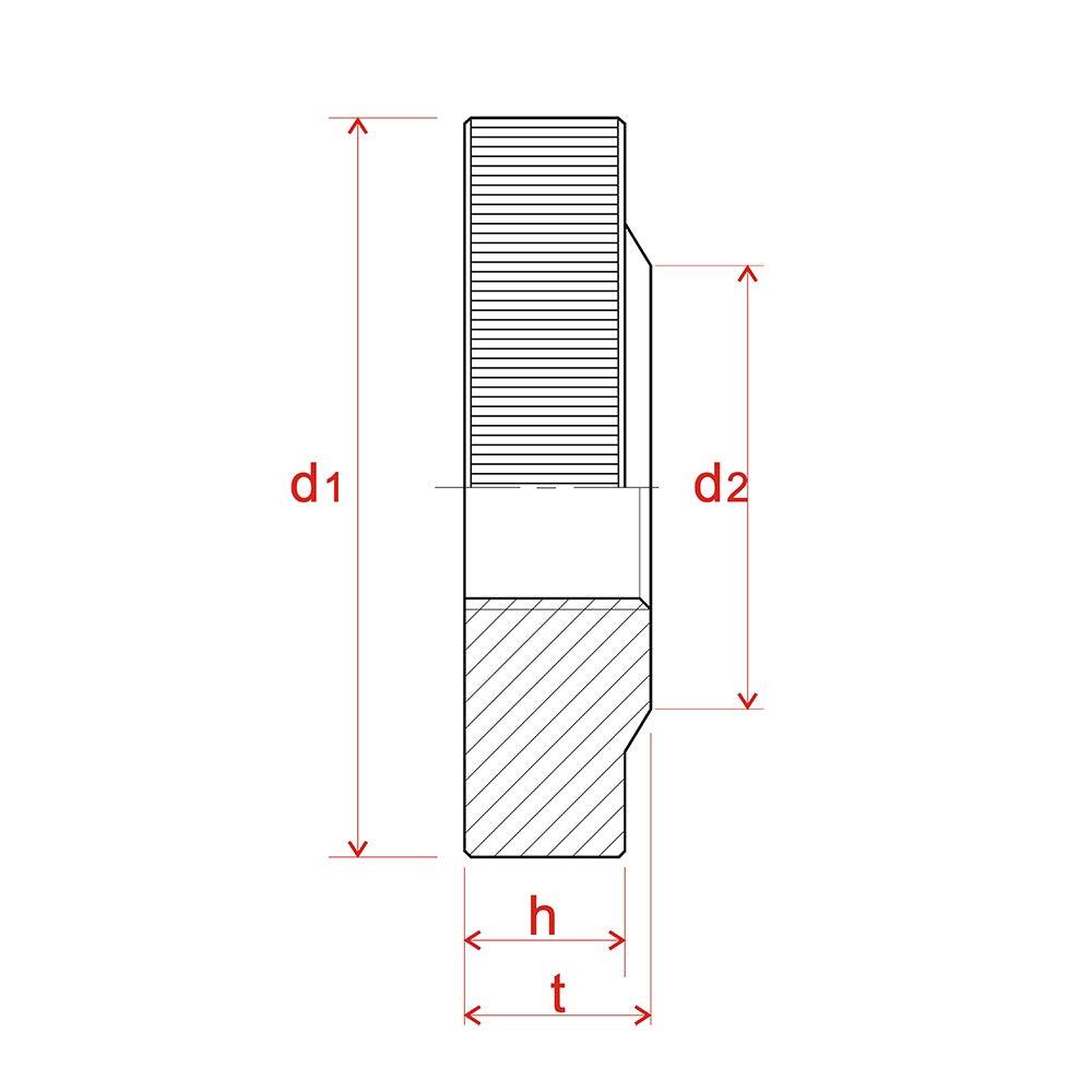 M4 R/ändelmutter Niedrige Form,Aluminium,20 St/ück,Silber