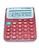 Colorful Calculators, Large LCD Display 12 Digit, Handheld for Daily and Basic Office, Solar and Battery Dual Power (Red)