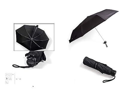 Amy Gee Paraguas Plegable de Caballero Negro antiviento, 8 Varillas Ultraligero elaborado en Aluminio