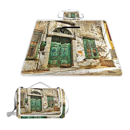 MAPOLO Old Streets of Greek Islands Picnic Blanket Waterproof Outdoor Blanket Foldable Picnic Handy Mat Tote for Beach Camping Hiking (Best Greek Island For Hiking)