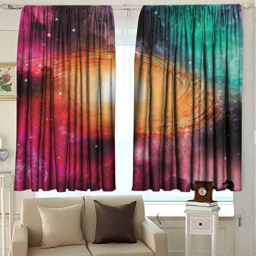 AFGG Outdoor Patio Curtains Zodiac Colorful Astronomy Pictures of A Spiral Galaxy Stars Stardust and Cosmos for Patio/Front Porch 55 W x 63 L Inches Pink Orange Green