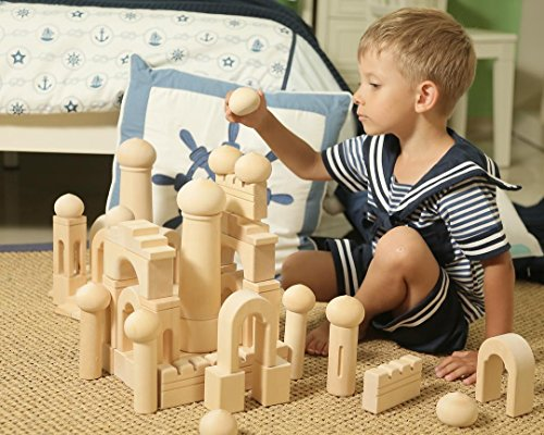 Kids Educational Wood Building Blocks - Natural Toddler Toys Wooden Sets Kits For Toddlers,Children,Boys,Girls 3,4,5,6 years old. Kids birthday gifts,presents-learning outdoor preschool games, puzzles by KUBI DUBI