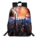 Oobon Kids Toddler School Waterproof 3D Cartoon Backpack, Futuristic Cityscape on Distant World