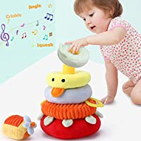 iPlay, iLearn Soft Plush Baby Toys, Safe First Stacking Rings, Sounds n Textures, Easy Grip Shaker, Learning Biting Gifts for 3, 6, 9, 12, 18 Months 1 Year Olds Newborn Infant Toddler Boy Girl(Yellow)