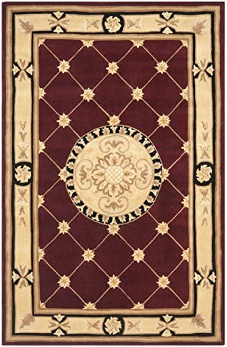 Safavieh Naples Collection NA523A Handmade Burgundy and Ivory Wool Area Rug, 8 feet by 11 feet 8 x 11