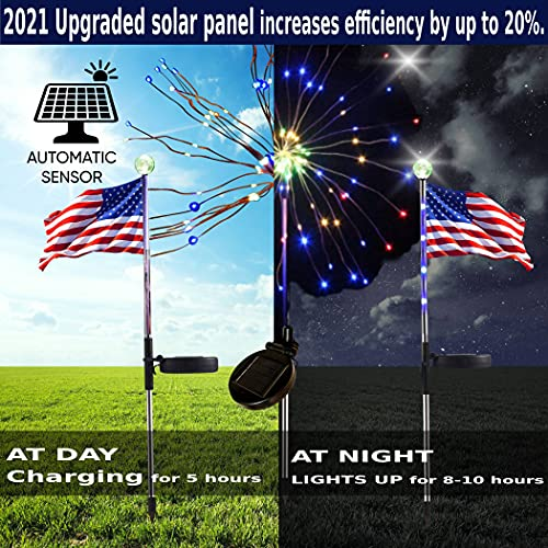 ONM Outdoor Solar Light-3 Pack Solar Garden Lights with 2 Solar Powered American Flag Lights and 1 Solar Firework Light Waterproof-Multi Color-Bigger Solar Panel for Pathway Party Patriotic Decoration