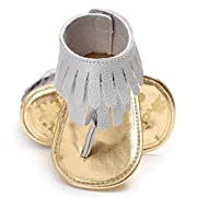 Voberry Toddler Baby Girls Tassel Sandals Soft Soled Anti-slip Fringe Footwear Shoes (0-6 Month, Gray 1)