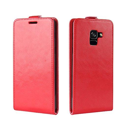 Para Samsung Galaxy A8 2018 Caso compacto de piel PU, arriba-abajo piel abierta PU Funda de piel con ranura para tarjeta y función de protección completa con cierre magnético Caja a prueba de golpes p rojo