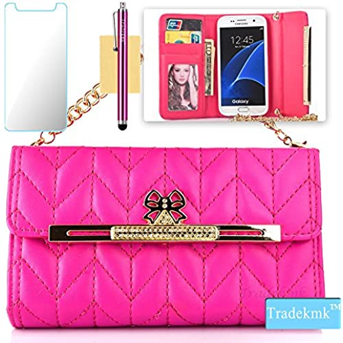 Galaxy S7 Edge Case,S7 Edge Case, Tradekmk(TM); PU Leather Wallet Card Slots With Long Chain Phone Cover(Rose Red) For Samsung Galaxy S7 Edge Sales