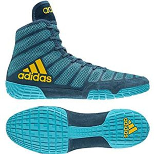 Price comparison product image adidas Adizero Varner Men's Wrestling Shoes,  Aqua / Yellow / Blue Size 10