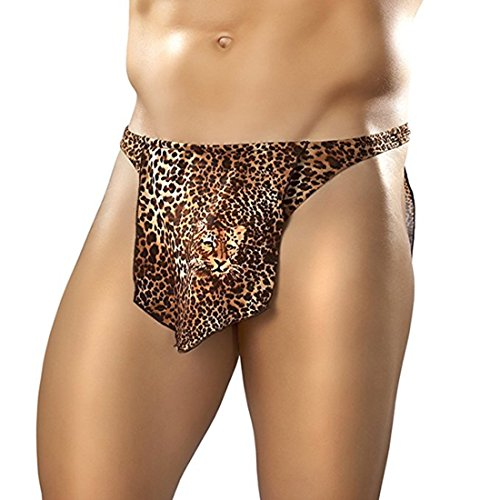 Agoky Men's Leopard Tarzan Jungle Loincloth Animal Thong Male Power Thongs Novelty Underwear Brown Large (Waist -