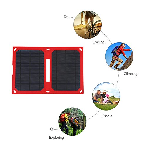 Foldable Solar Panel Charger 12W 5V USB Waterproof Portable Solar Charger...