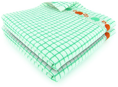 Apple Kitchen Tea Towel - Fecido Fruity Kitchen Collection Dish Towels - Heavy Duty - Super Absorbent - 100% Cotton - The Best European Tea Towels With Fruit Design - Set of Two, Green Apple