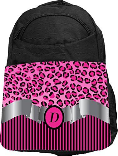 "Rikki Knight UKBK Letter ""D"" Hot Pink Leopard Print Strip..."
