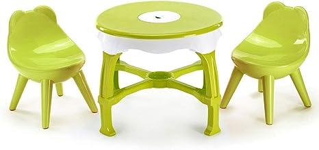 GKPLY Juego de Mesa y Silla pequeña y Redonda para niños - Espesar combinación casera Mesa de Juguete y Mesa de Mesa pequeña y Redonda para bebés aprendiendo a Dibujar Escritorio,Green: Amazon.es: