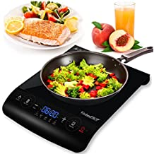 KitchenPROP 1800W LCD Portable Induction Cooktop Countertop Burner for Cooking Countertop Burners Electric Sensor Touch with 5 Cooking Functions, Black