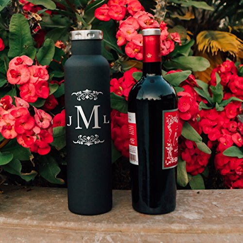 Personalized Monogram Wine Growler 750mm (25oz) Double Wall Insulated Vacuum Fifty Fifty Bottle | Personalized Gifts | Bridesmaids' Gifts | Couple Gifts Newly Wed Gift | Birthday Gift | Christmas (Two Hands Shiraz)