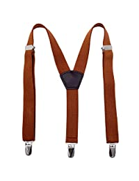Toddler Kids Boy Men Suspenders Elastic - Metal Clips Solid Color Adjustable Children Y Back Braces (24 inches (7 Months - 3 Years), Brown)