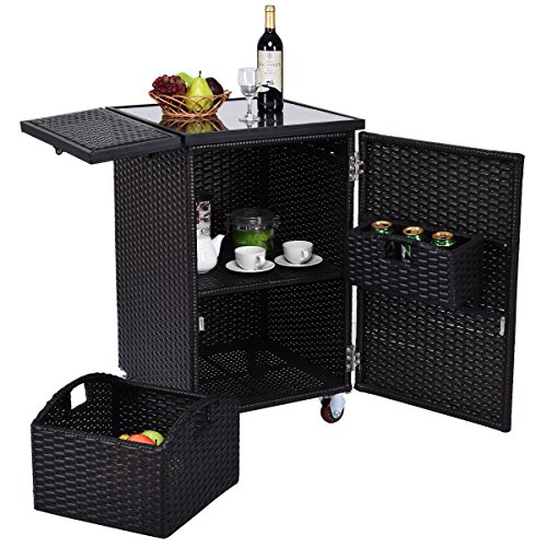 Cheap Rattan Wicker Kitchen Trolley Cart Patio Roller Dining Storage Glass Stand