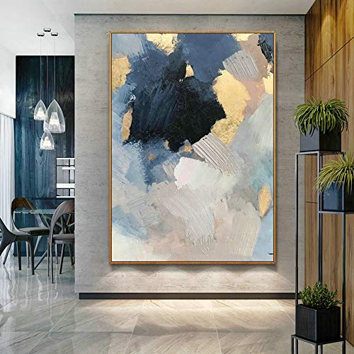 100% Hand-Painted Oil Paintings,Creative Style, Abstract Gold Foil Blue Black Irregular Shape, Painting On Canvas Art, Large Size Home Decoration Wall Art, For Children'S Room Bedroom Decoration Paint