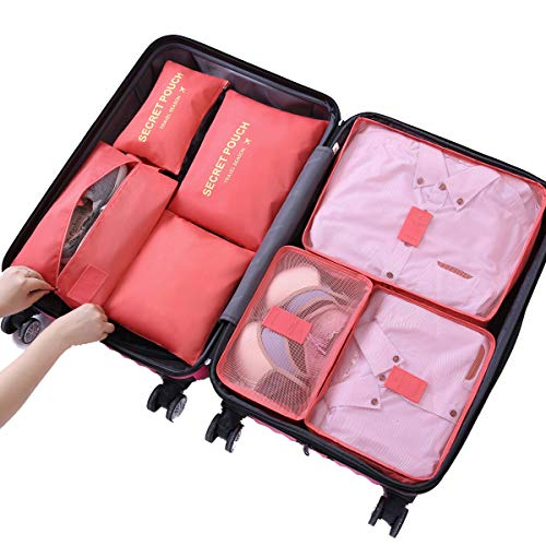 Sackorange 7 Set Travel Storage Bags Packing cubes Multi-functional Clothing Sorting Packages,Travel Packing Pouches,Luggage Organizer (Watermelon Red) ()