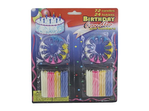 Deluxe birthday candle set - Case of 72 by bulk buys