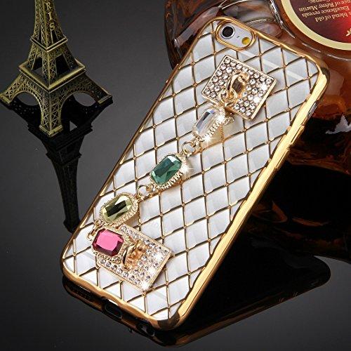 Wkae Case Cover Für iPhone 6 &6s Grid Textur Diamant-Verkrustete Handkette Galvanotechnik Feld TPU-Schutzhülle