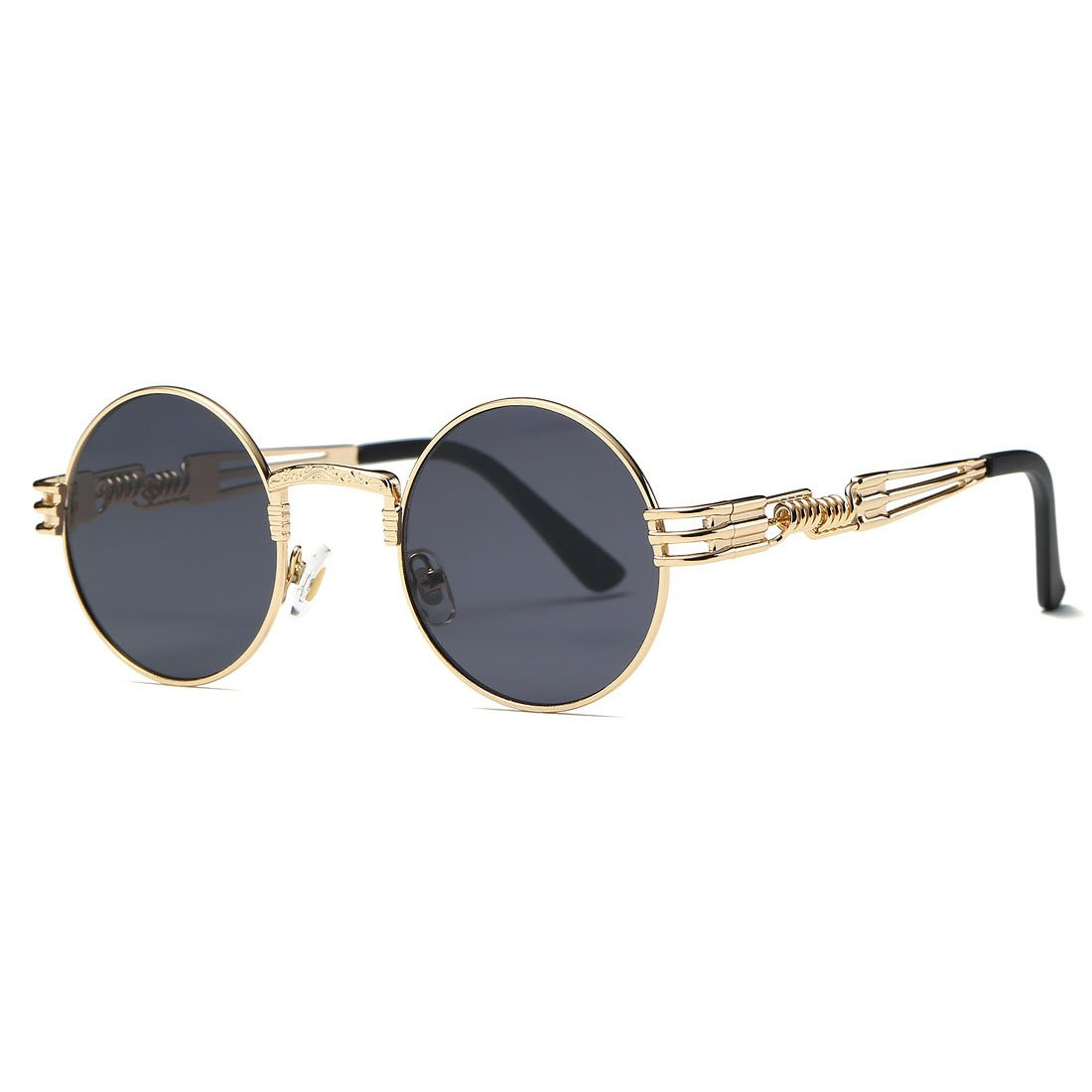 AEVOGUE Sunglasses Steampunk Style Round Metal Frame Unisex Glasses AE0539 (Gold&Black, 48) by AEVOGUE (Image #2)