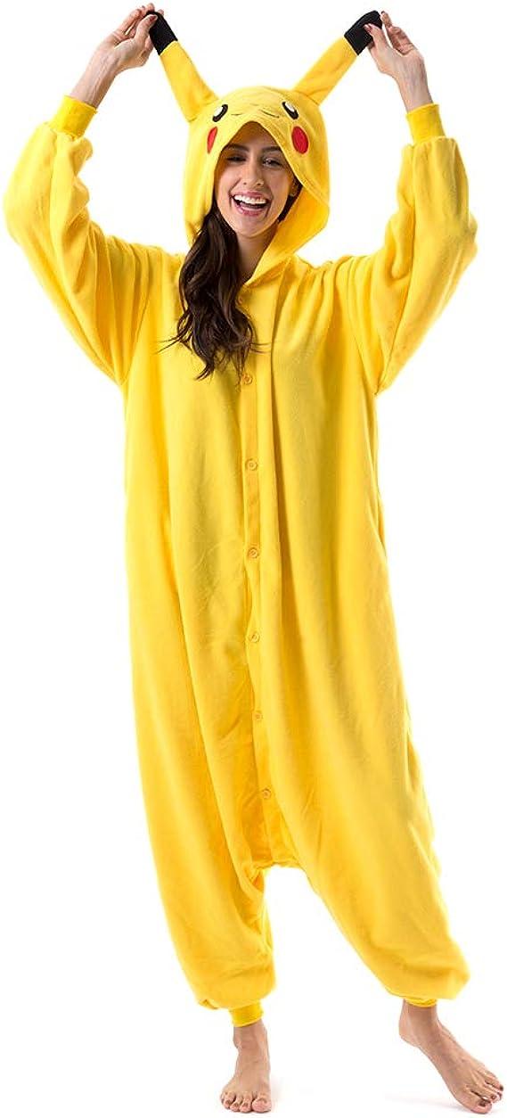 Beauty Shine Unisex Adult Cartoon Pikachu Christmas Costume Plush Pajamas (M, Pikachu)