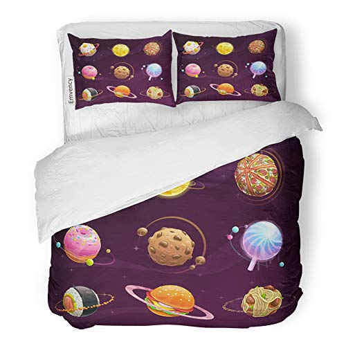 Emvency Decor Duvet Cover Set King Size Cartoon Food Planet Galaxy Fantasy on Cosmic Space Tasty Astronomy Burger Candy 3 Piece Brushed Microfiber Fabric Print Bedding Set Cover