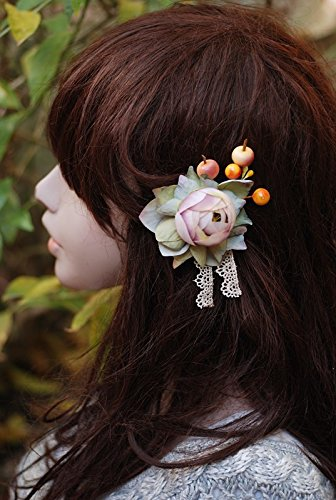 Helen de Lete Innovative Flower and Berry Handmade Brooch and Hairpin