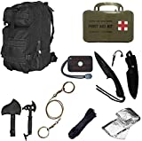 Ultimate Arms Gear Level 3 Assault MOLLE Black Backpack Kit; Signal Mirror, Polarshield Blanket, Knife Fire Starter, Wire Saw, Axe, 50' Foot Paracord & First Aid Kit