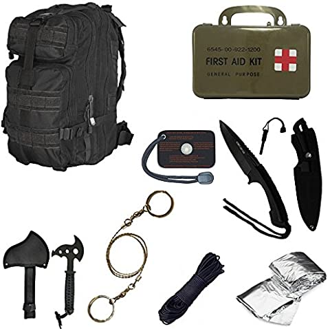 Ultimate Arms Gear Level 3 Assault MOLLE Black Backpack Kit; Signal Mirror, Polarshield Blanket, Knife Fire Starter, Wire Saw, Axe, 50' Foot Paracord & First Aid - Modular Knife Sheath