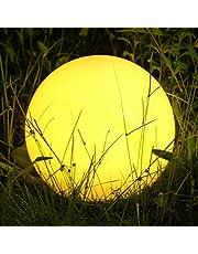 Albrillo RGB Solarlampe Außen - LED Solar Kugel mit Fernbedienung, Durchmesser 30cm mit 12 Farben, 1200mAh USB Aufladbar Kugellampe, Wasserdicht IP68 für Teich und Garten