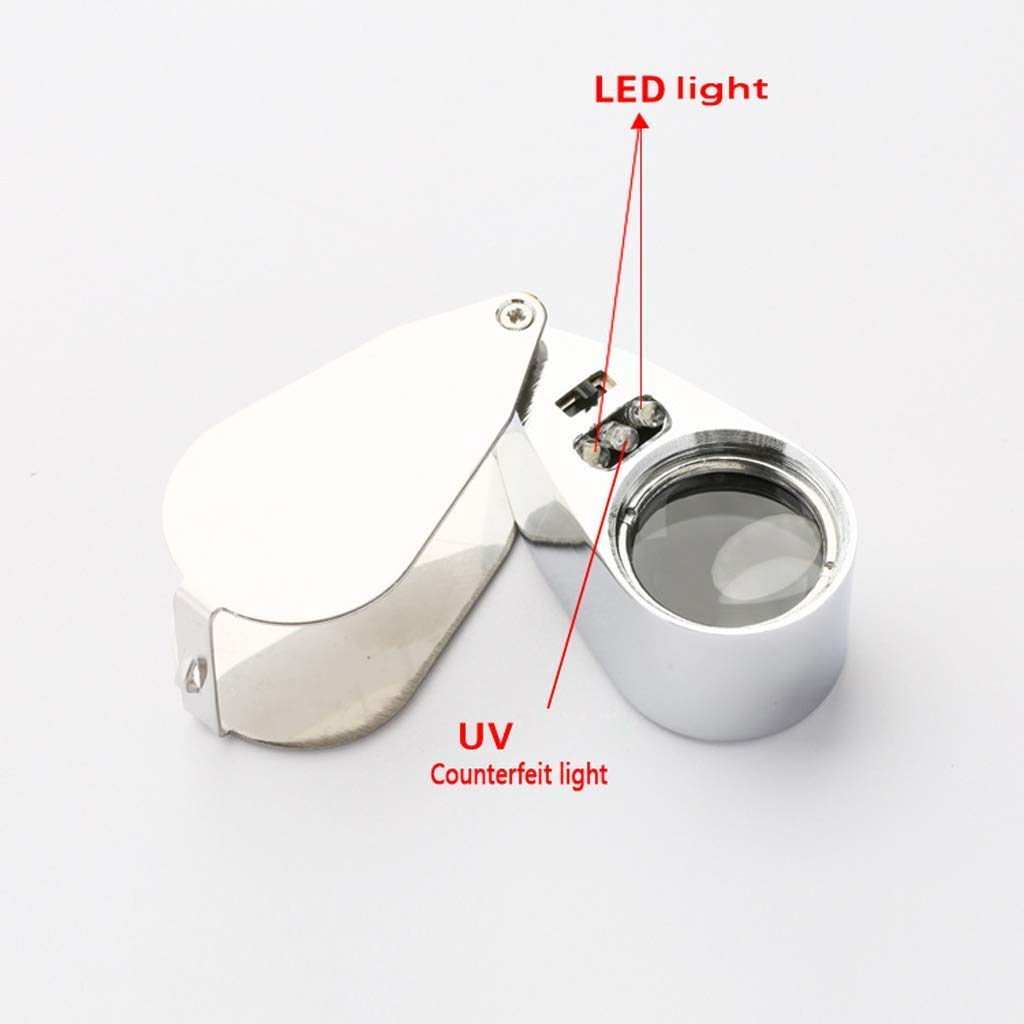 40X Handheld Illuminationslupe mit LED-Licht LED-Licht LED-Licht HD-Objektiv zum Lesen von Büchern Schmuck Identifikation Uhr DIY Handwerk Gravur und Reparatur Silber 25mm Lupe 62c123