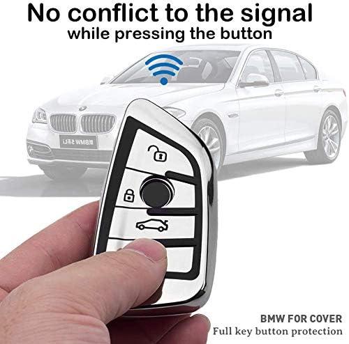 Funda de Silicona para Llave BMW Cover Carcasa de TPU Cromo Suave para Keyless BMW Serie 1 3 5 7 X1 X3 X4 X5 F30 E30 Protecci/ón Llaveros Protecci/ón Total para Llave de Coche Mando de Auto