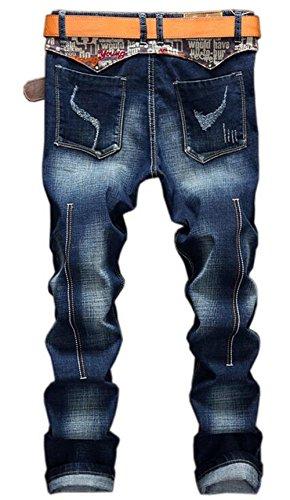 Genou Basique Pantalon Confort Droite Moxishop Jeans Original Mince Coton Bleu Jeunes Casual Haute Rue Laver Élastique Respirant Homme Qualité Mode Classique OUSqa