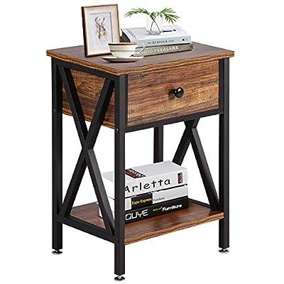 VECELO Sofa Side/End Storage Shelf X-Design Versatile Nightstands Lamp Table Living Room Bedroom Furniture