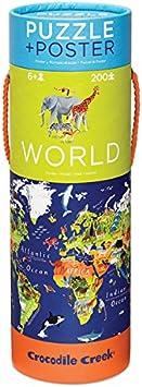Crocodile Creek World Floor Puzzle, Multi Color (13-inch)