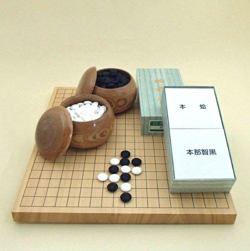 囲碁盤 新榧 新かや1寸卓上碁盤セット (蛤碁石28号実用+碁笥) 竹 221S-a