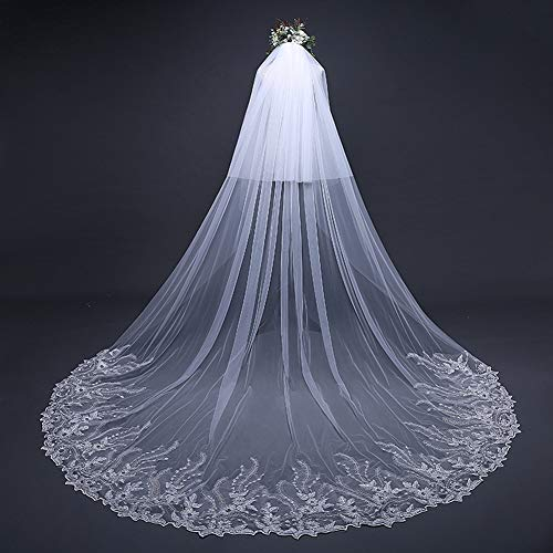 Appliqued Chapel Train - MLYC 2T 2 Tiers Lace Sequin Appliqued Chapel Cathedral Bridal Veils with Free Comb