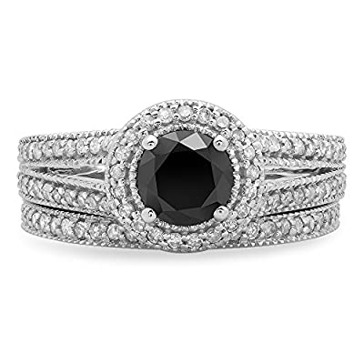 1.25 Carat (ctw) 14K White Gold White & Black Diamond Ladies Engagement Ring Set 1 1/4 CT