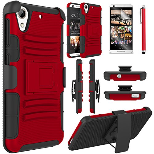 , HTC Desire 626 Case, EC™ Heavy Duty Hybrid Armor Dual Layer Holster Case with Kickstand + Belt Swivel Clip for HTC Desire 626 (A Red/Black) (Htc Case)