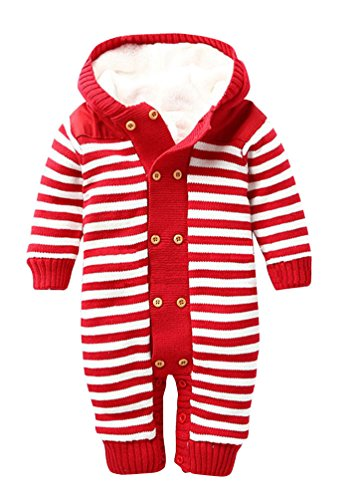 Keral Baby Jungen Mädchen Overall Strick Getreift Mit Kapuze 12M Rote