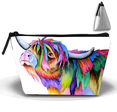 Highland Cow Cosmetic Bag Portable Ladies Travel Makeup Bag