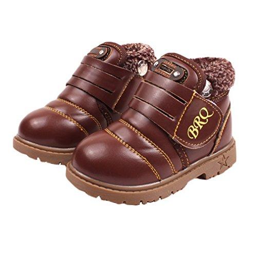 Eozy Kinder Baby Jungen Mädchen Schneestiefel Leder Schuhe Warm Winterschuhe Braun