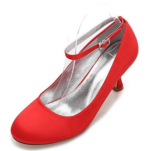 L@YC Womens Wedding Schuhe E17061-12 Satin Runde Zehe Flach Schließen Zehen Schnalle Sommer Work Court Schuhe Elegant Red