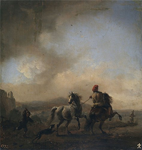 Oil Painting 'Wouwerman Philips Caballos Asustados Por Un Perro Ca. 1650 ' Printing On High Quality Polyster Canvas , 18 X 19 Inch / 46 X 48 Cm ,the Best Kids Room Decoration And Home Gallery Art And Gifts Is This High Resolution Art Decorative Canvas Prints