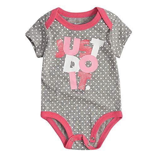 NIKE Children's Apparel Baby JDI Graphic Bodysuit, Dark Grey Heather/Pink, 9M